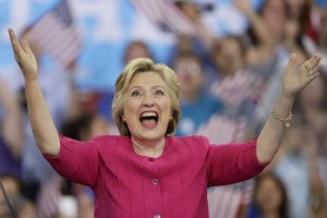 Democratic presidential candidate Hillary Clinton gestures while speaking at a campaign rally at Temple University, Friday, July 29, 2016, in Philadelphia. (AP Photo/Matt Slocum)