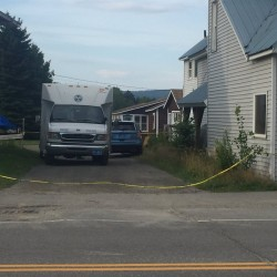 WCSH photo Maine State Police investigate an incident Thursday morning at 2564 Main St., Rangeley, that left one person dead and two injured.