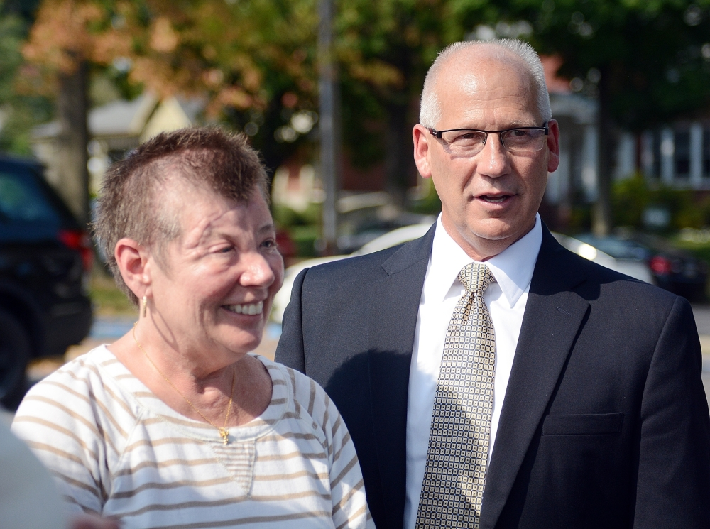 Sharon and Randy Budd leave court in Lewisburg, Pa., in 2015 after three young men were sentenced for throwing a rock off a highway overpass. Associated Press file