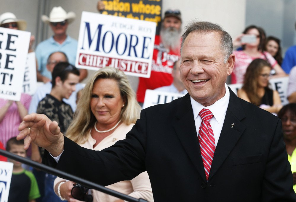 Chief Justice Roy Moore holds a news conference Monday in Montgomery, Ala. He is accused of breaking judicial ethics during the fight over same-sex marriage in the state.