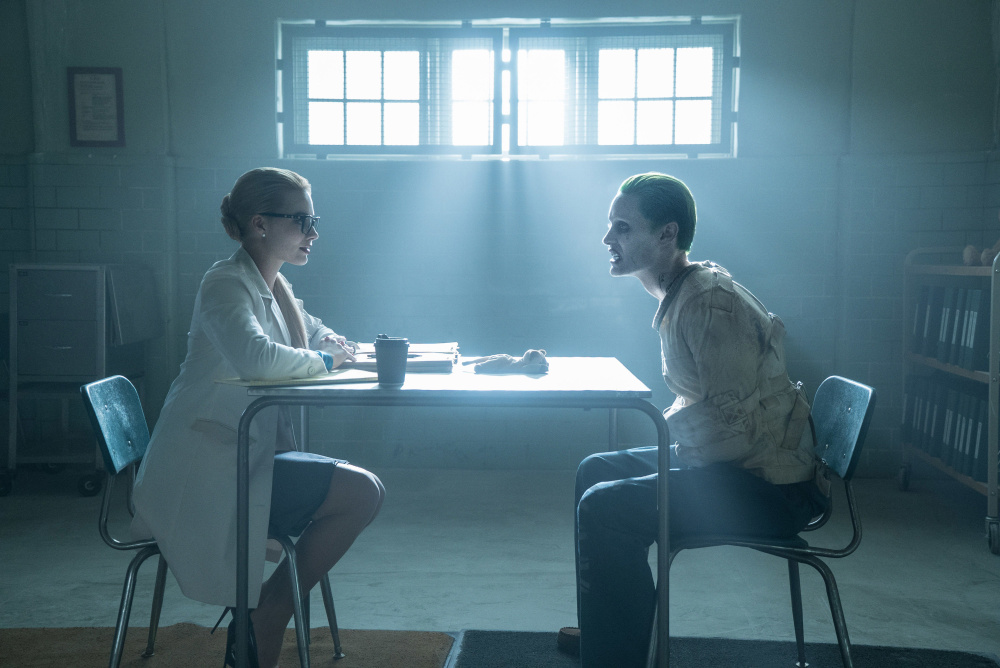 "Margot Robbie, left, and Jared Leto in ""Suicide Squad"""
