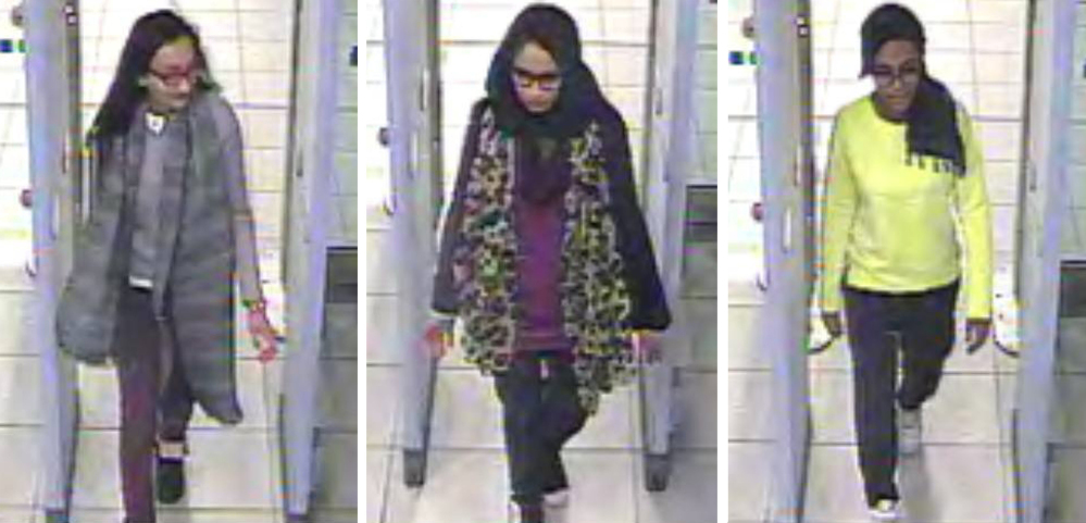 "London schoolgirls Kadiza Sultana, left, Shamima Begum, center, and Amira Abase Pass through security at Gatwick airport, before catching a flight to Turkey. A lawyer said  Sultana, one of the three who traveled to Islamic State-controlled area of Syria to become ""jihadi brides,"" is believed to have been killed in an airstrike."