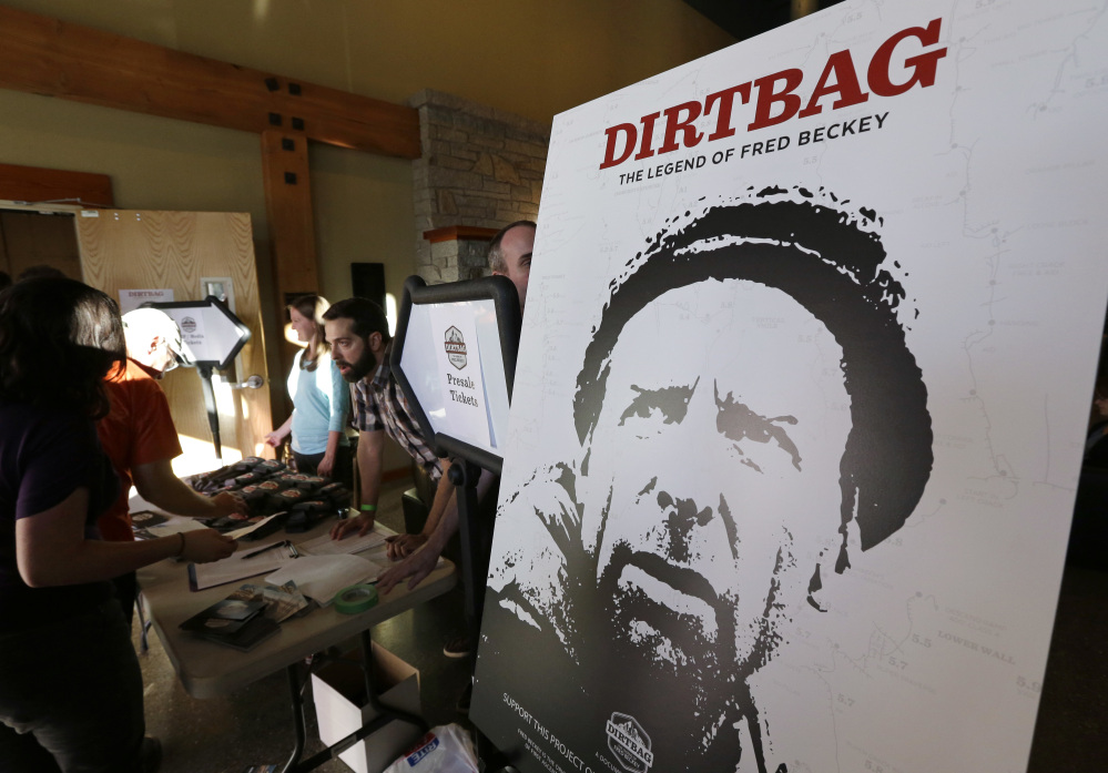 "A poster for ""Dirtbag: The Legend of Fred Beckey""  is displayed in Seattle.  AP Photo/Ted S. Warren"