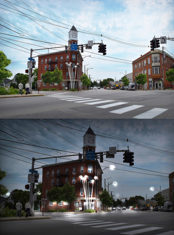 Preliminary concept #2 for a streetlight sculpture at Woodfords Corner.