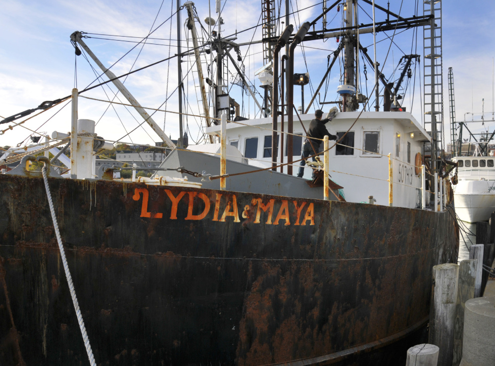 The Lydia & Maya, seen in 2009, sent a radio transmission around midnight Tuesday that said it was taking on water. The fishing vessel is owned by a Scarborough company.