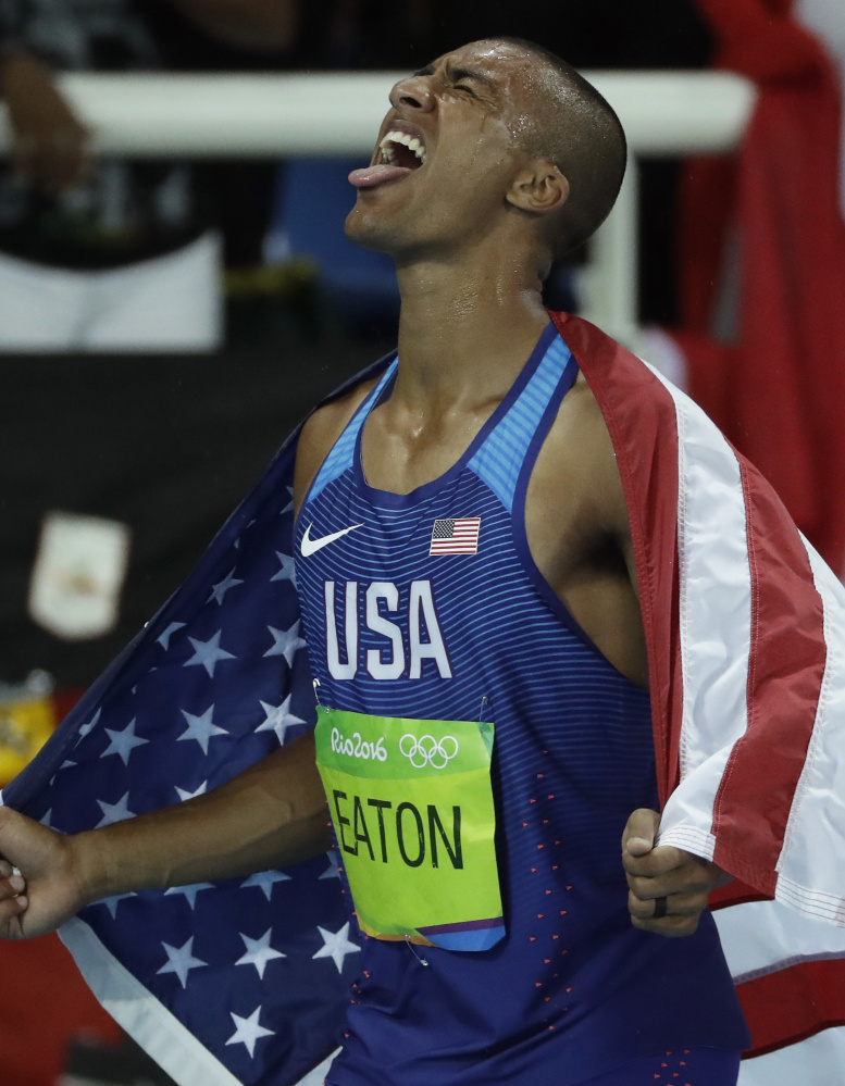 Ashton Eaton of the United States celebrates after winning his second straight Olympic decathlon. He also has two straight world titles.