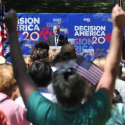 Franklin Graham, the president of Samaritan's Purse and the Billy Graham Evangelistic Association, speaks to rally in Capital Park in Augusta on Tuesday as part of his Decision America Tour. The park is across the street from the Maine State House.