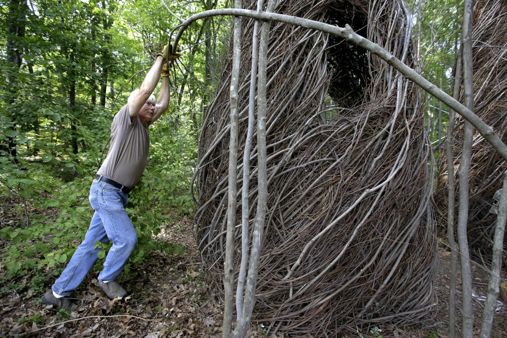 Sculptor Patrick Dougherty bends a sapling while constructing an installation from branches and sticks at Tower Hill Botanic Garden, in Boylston, Mass.
