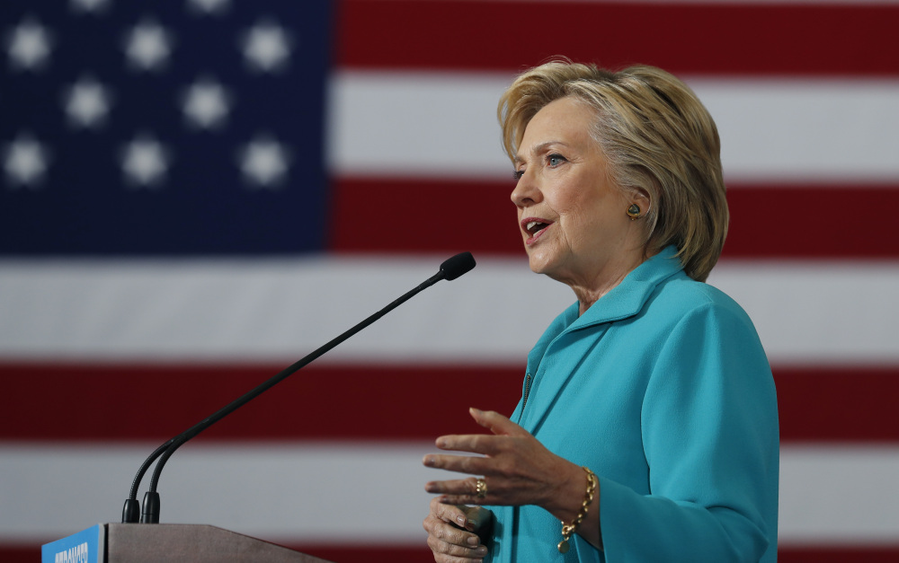 "Democratic presidential candidate Hillary Clinton, seen speaking at a campaign event Thursday at Truckee Meadows Community College in Reno, Nev., said that with Donald Trump as its presidential nominee, ""A fringe element has effectively taken over the Republican Party."""