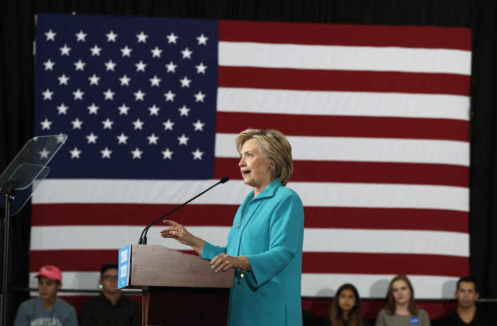 Democratic presidential candidate Hillary Clinton speaks at a campaign event at Truckee Meadows Community College in Reno, Nev., on Thursday.