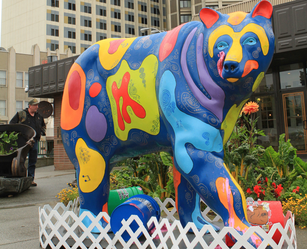 Bears do have a sweet tooth, and this fiberglass beast – sponsored by an ice cream shop – appears to be licking sweet treats off its face.