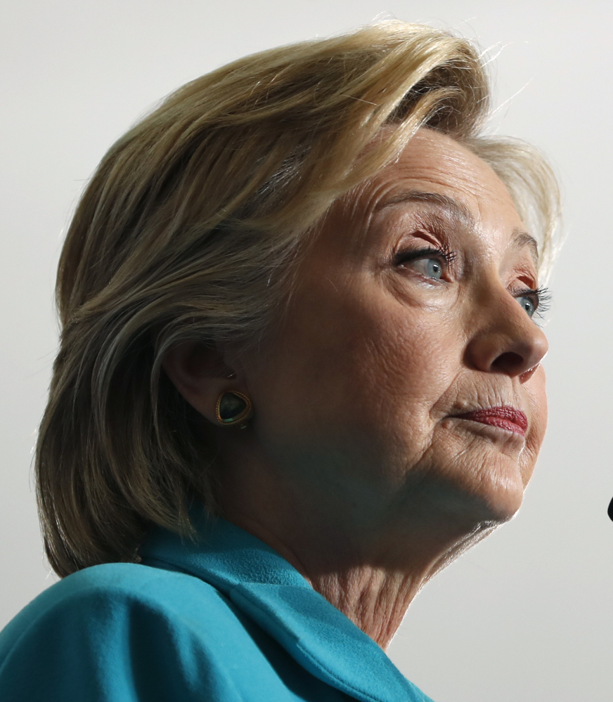 Hillary Clinton pauses as she speaks at a campaign event at Truckee Meadows Community College, in Reno, Nev., on Thursday.