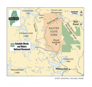 A map of Maine's north woods region showing the new Katahdin Woods and Waters National Monument.