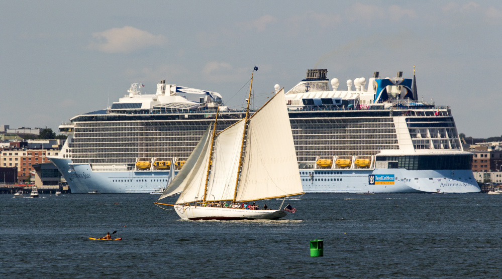 Giant Cruise Ship With Nearly Aboard Visits Portland - Cruise ship bar harbor