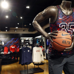 A display area in the House of Hoops shop at Foot Locker's redesigned Manhattan flagship store suggests the company's new push to highlight top brands and encourage wider appeal.