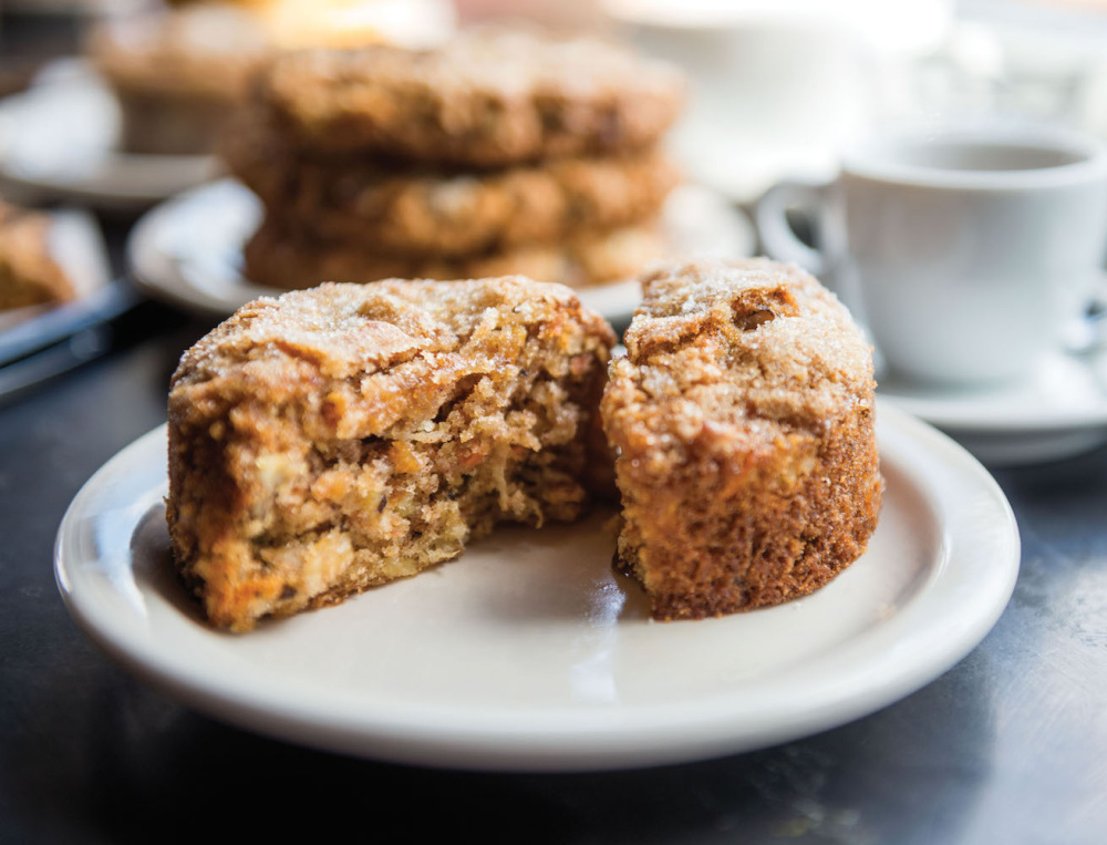 Morning Glory Muffins are described as a local favorite at Panther Coffee shop in Miami, where baker Cindy Kruse provides the baked goods.