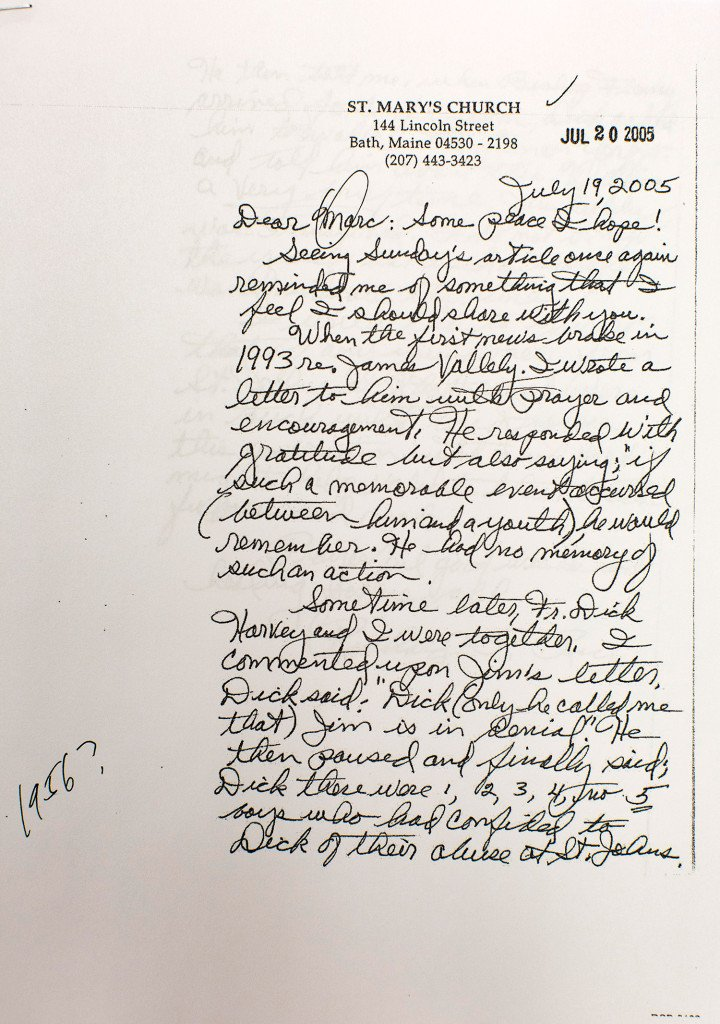 This letter led to the $1.2 million settlement with the Diocese of Portland and six sexual abuse victims of Fr. James Vallely.