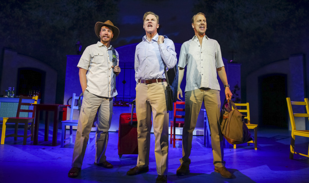 "Aaron Galligan-Stierle as Bill Austin, Peter Simon Hilton as Harry Bright and Ian Knauer as Sam Carmichael in ""Mamma Mia!"" (Ben McCanna/Staff Photographer)"