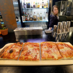 A half slab just out of the oven at Slab in Portland. Slab was one of the restaurants in Portland singled out by Esquire magazine for making top-notch pizza.