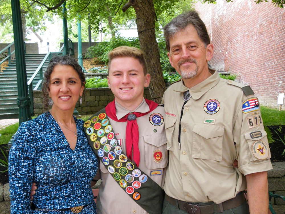 Garrett Parker Brown of Gardiner Boy Scout Troop 672, sponsored by Christ Church Episcopal, shared an Eagle Court of Honor with his cousin, Aaron Jacob Henry Montell, also of Troop 672, on June 5 in the old grand theater on the third floor of Johnson Hall in Gardiner. From left are Eagle Scout Garrett Brown with mother Karen Montell and father Donald Brown.