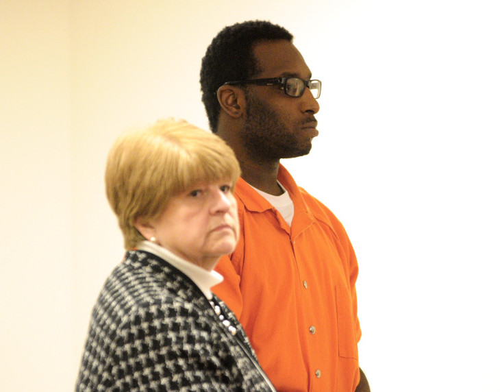 Defense attorney Pamela Ames stands next to David W. Marble Jr., 29, of Rochester, New York, during a December hearing at the Capital Judicial Center in Augusta. Marble is charged with two counts of murder in connection with the slayings of Augusta residents Bonnie Royer and Eric Williams.