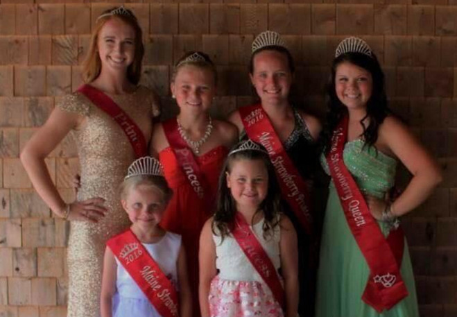 The Maine Strawberry Pageant recently was held at the Pittston Fair. The winners were in front, from left, 2016 Maine Strawberry Blossom Lydia Moreland, of West Gardiner, and Blossom Runner Up Taylor Coutts, of Randolph. In back, from left, are Queen Runner Up and Miss Congeniality Abi Weston, of West Gardiner; Princess Runner Up Sada Chaisson, of Pittston; 2016 Maine Strawberry Princess Kyla Driscoll, of Pittston; 2016 Maine Strawberry Queen Raelyn Spencer, of West Gardiner.