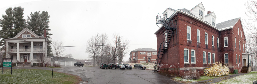 This April photo shows part of the Stevens School complex in Hallowell that city officials hope will be redeveloped.