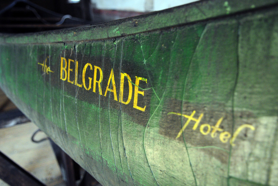 A detail photo of the 1945 Old Town canoe from the former Belgrade Hotel.