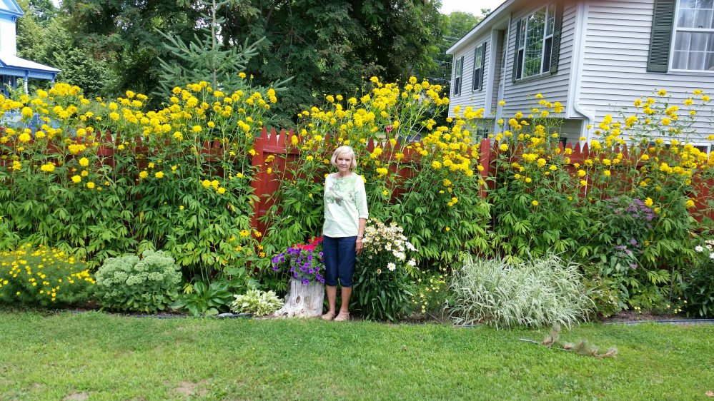Shirley Lapointe, of Skowhegan, with one of her many gardens. Lapointe learned early this year that cancer was diagnosed for a second time. Where there was no promise that they could get it all, and gardening would be out, she decided to enjoy working in her perennial flower gardens and pots of annual flowers instead. She is always on the move, takes no medications, and feels good.