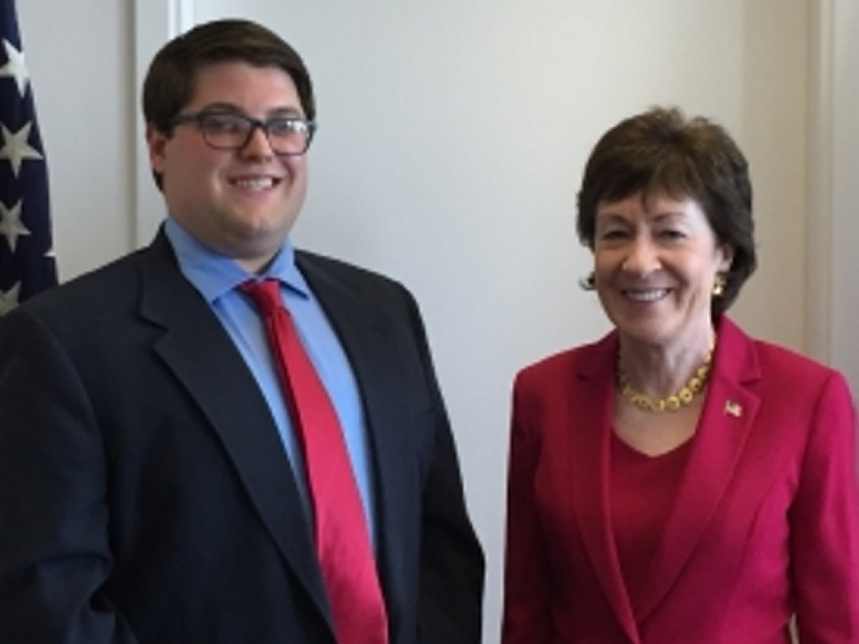 Isaac Gingras, left, with U.S. Sen. Susan Collins, has been awarded a summer internship at Collins' Augusta Constituent Service Center.