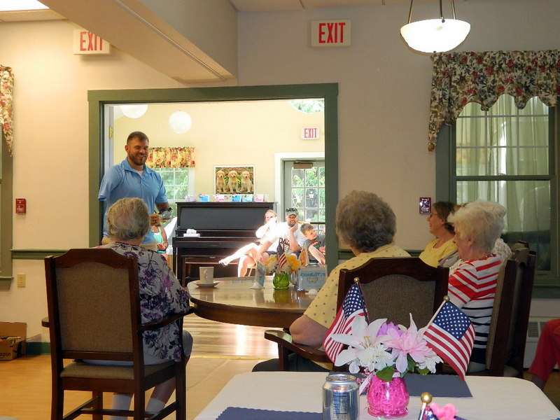 Staff Sgt. Travis Mills recently visited with residents and staff at Sunset Home in Waterville. His outgoing and enthusiastic personality is what makes his visits not only inspiring, but allows his audience to laugh and be taken in by his stories.