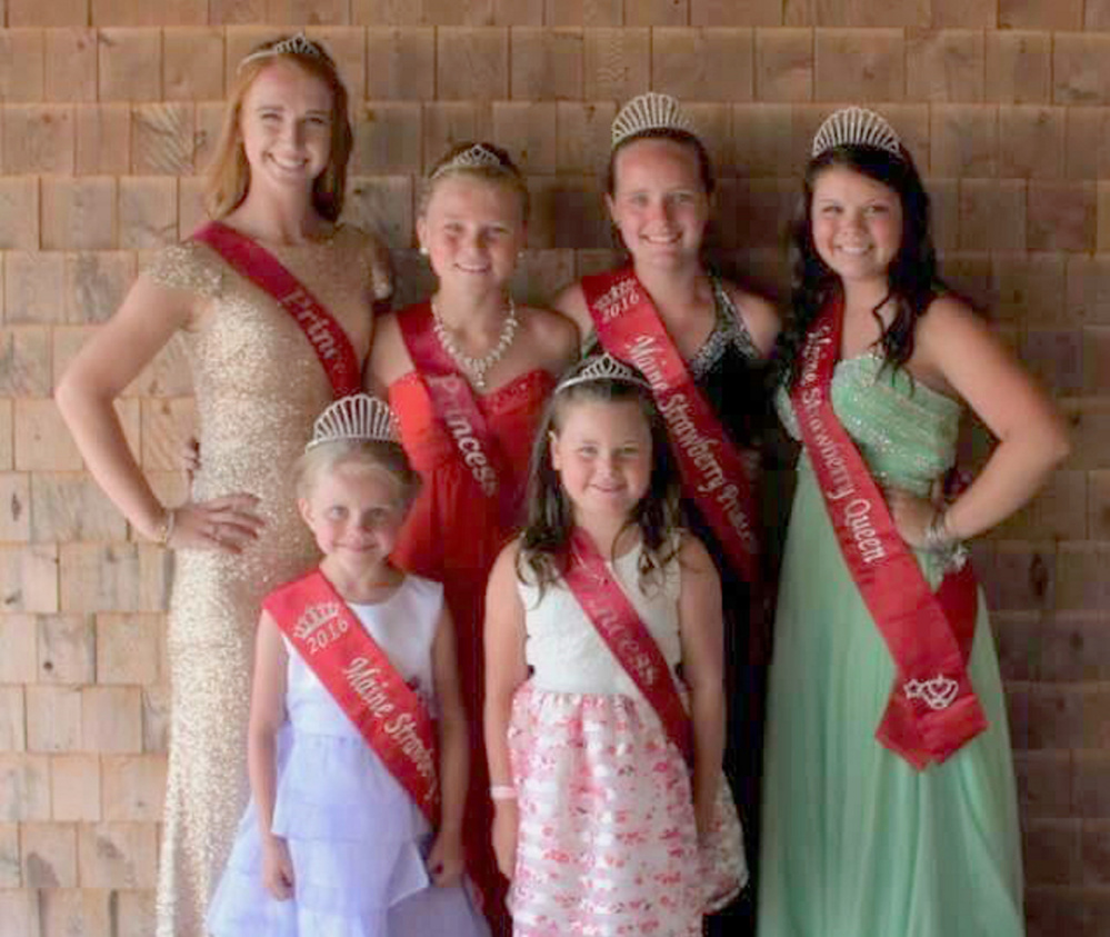 The Maine Strawberry Pageant was recently held at the Pittston Fair. The winners were: in front, from left, 2016 Maine Strawberry Blossom Lydia Moreland, of Pittston, and Blossom Runner Up Taylor Coutts, of Randolph. In back, from left, are Queen Runner Up and Miss Congeniality Abi Weston, of West Gardiner; Princess Runner Up Sada Chaisson, of Pittston; 2016 Maine Strawberry Princess Kyla Driscoll, of Pittston; and 2016 Maine Strawberry Queen Raelyn Spencer Of West Gardiner.
