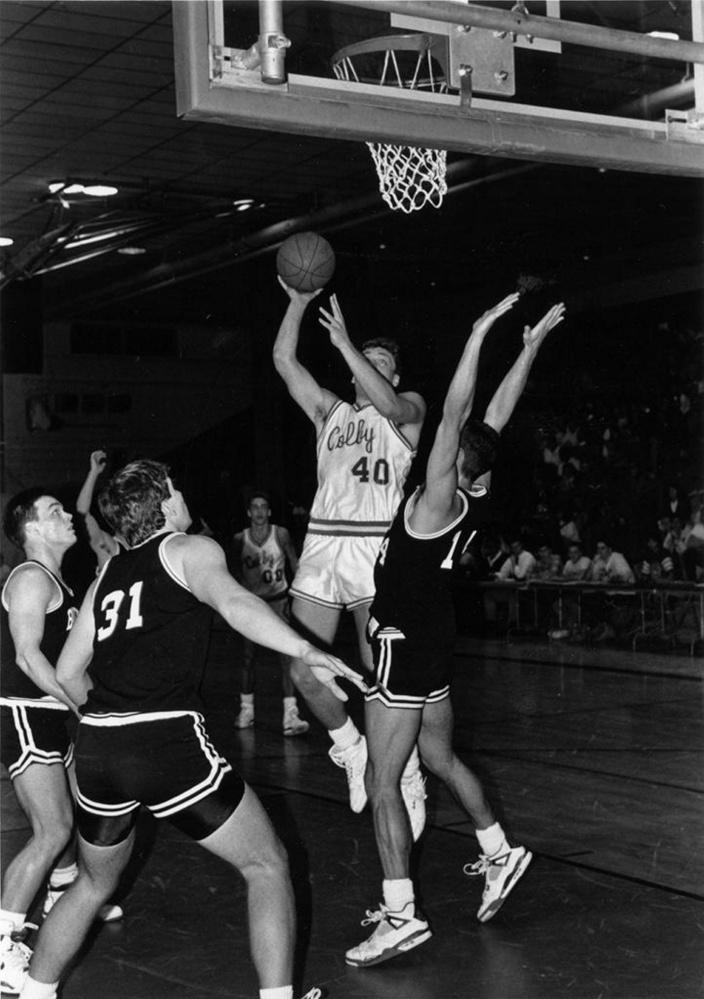 Kevin Whitmore goes to the hoop during a game at Colby during the 1990-91 season. Whitmore is going into the Maine Basketball Hall of Fame on Sunday.