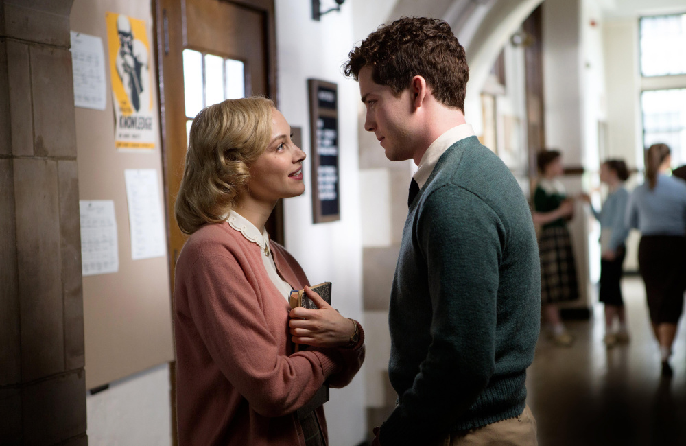"""Sarah Gadon, left, and Ben Rosenfield in a scene from """"Indignation."""""""
