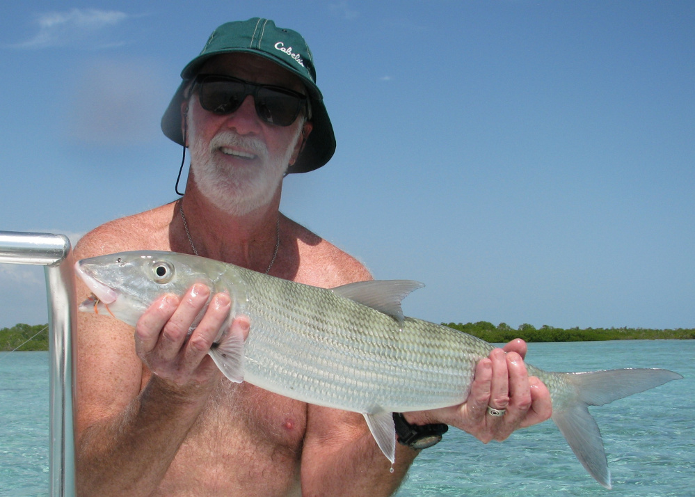 Contributed photo   Carroll Ware, 70, of Skowhegan, shows off a bonefish he caught off the coast of Cuba recently.