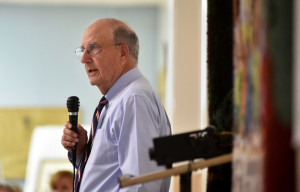 Former U.S. Sen. George Mitchell speaks of his childhood growing up in Waterville during an endowment fund dinner at his childhood church, St. Joseph's Maronite Church, in Waterville on Wednesday.