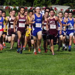 Boys and girls runners from across the state take off across the Cony High School practice football field at the start of the Laliberte Invitational last year.