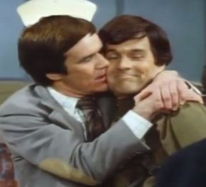 """Actor Jack Riley, as Mr. Carlin on """"The Bob Newhart Show,"""" left, in 1977, with J.P. Devine, who was listed in the show's credits as Jerry Devine, but usually went as Jimmy Devine. Riley, a close friend of Devine's who got him the one-time part on the show, died last week."""