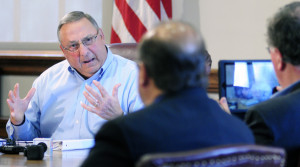 Gov. Lepage defends racial profiling and threats of violence against a lawmaker in a meeting with reporters.
