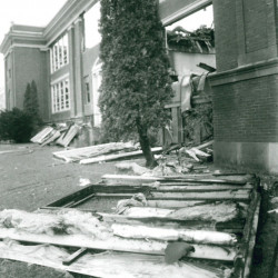 Madison High School in October 1986 after it was gutted by an arson fire. Toby Thibeault, 15, of Madison was later charged with the fire and another one at Carrabec High School and was tried in early 1987 as a juvenile.