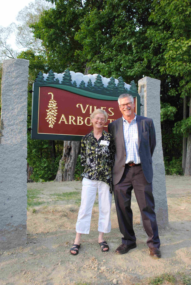 Oakhurst Dairy family owners Jean Bennett Driscoll, left, and John Bennett are all smiles and pleased to support the Viles Arboretum.