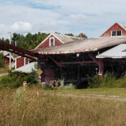 This former deteriorated sawmill in Vassalboro at the Masse Dam is expected to be torn down so water pipes below it will not be damaged and cut off water supplies when the dam is removed as part of the Alwewife Restoration Initiative.