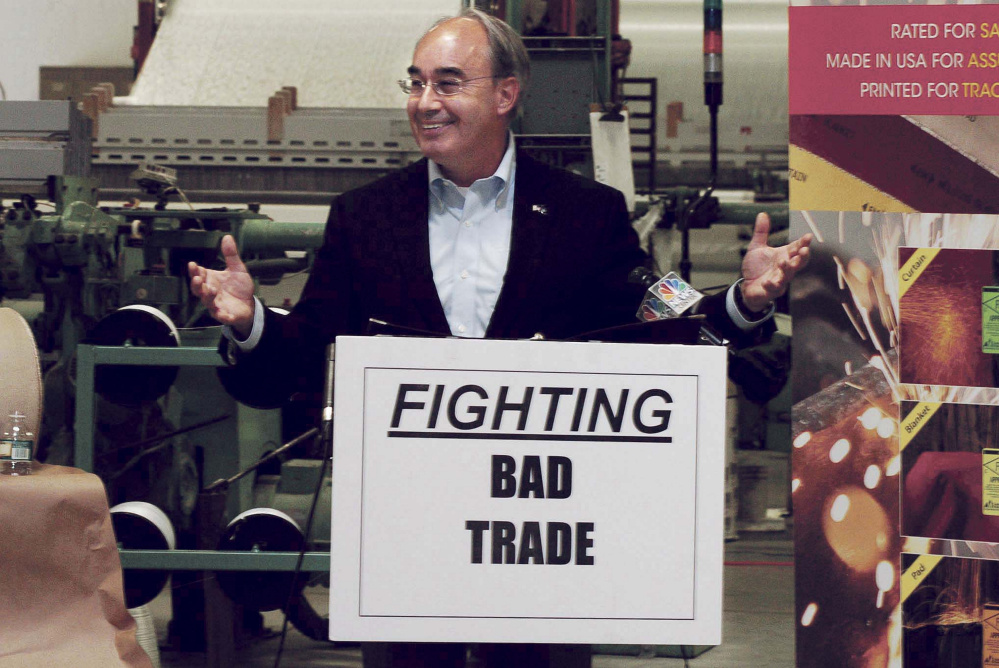 U.S. Rep. Bruce Poliquin, R-2nd District, speaks about fair trade Tuesday at Auburn Manufacturing in Auburn. Duties recently approved on Chinese textiles will create a level playing field for U.S. manufacturers, he said.