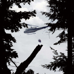A Maine Forest Service helicopter dumps water over a woods fire Tuesday off Gray Road in Vassalboro.
