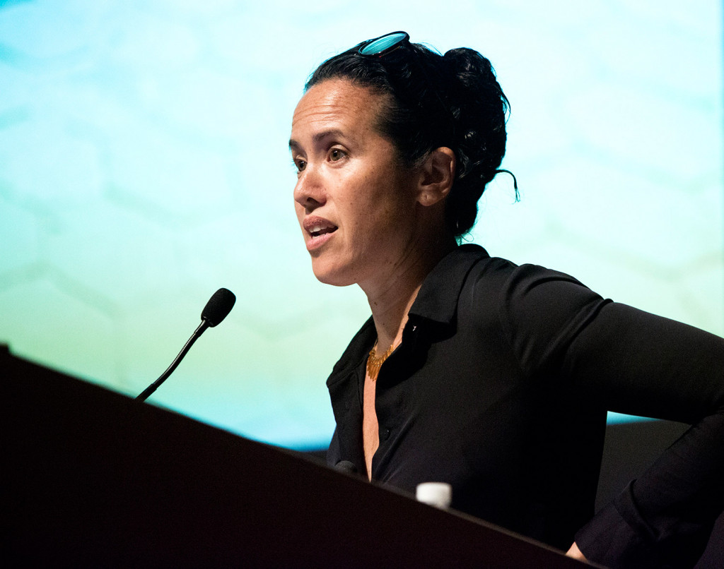 Sarah Sze, seen making her presentation at a forum earlier this month on the redesign of Congress Square, has public art projects on display in New York City and Venice, Italy. Derek Davis/Staff Photographer