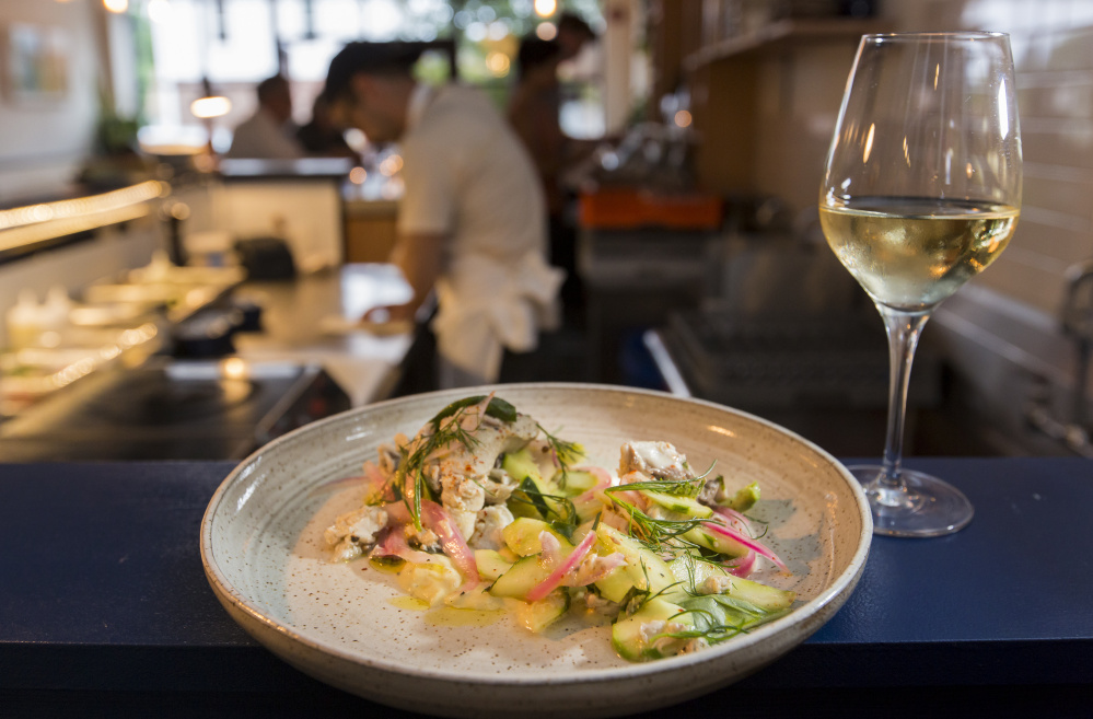 Marinated bluefish at Drifters Wife natural wine bar in Portland.