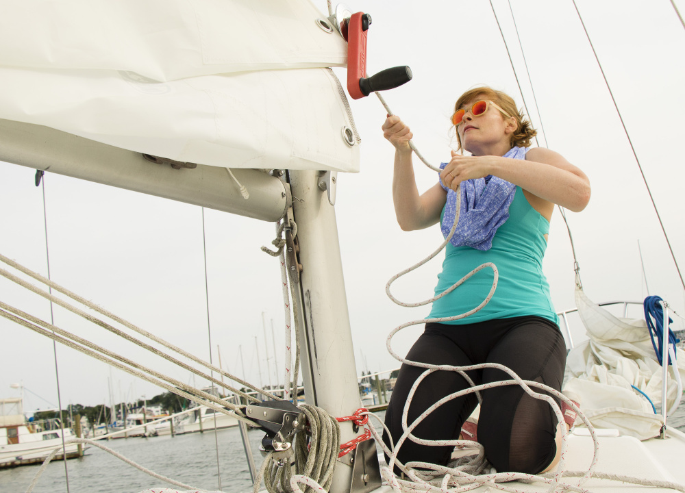 Scientist Emma Doud worried that she wouldn't be able to find a job when she moved to Maine for her husband's medical fellowship. Now she works at Idexx and enjoys outdoor activities such as sailing, making her a poster child for state efforts to draw visitors to jobs here.