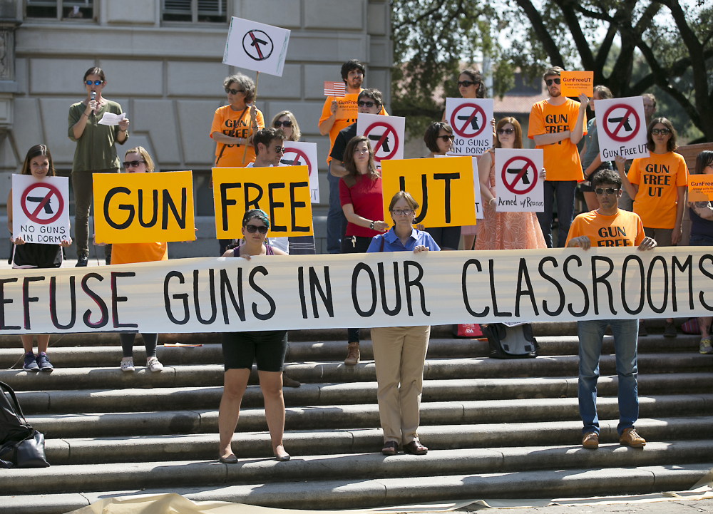 Not everyone embraces an unconditional Second Amendfment at the University of Texas, where protesters gathered last October to oppose a new state law that expands the rights of concealed handgun license holders on public college campuses.