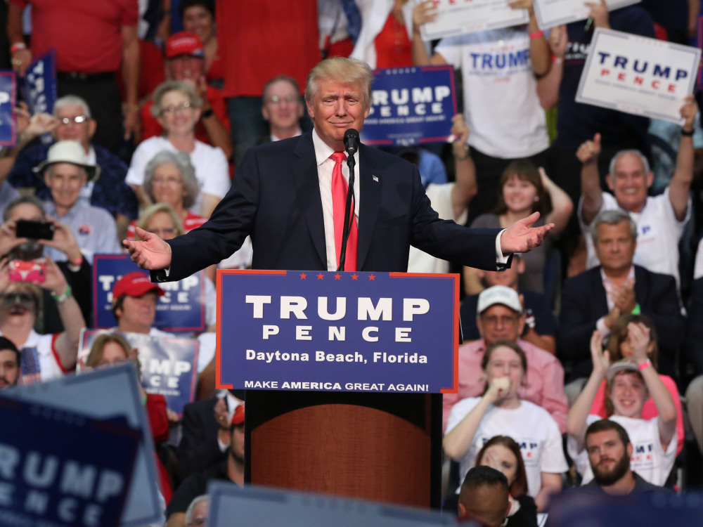 Republican presidential candidate Donald Trump, shown at a rally at Ocean Center in Daytona Beach, Fla., on Wednesday, contends that voter fraud is rampant, despite multiple studies that show otherwise.