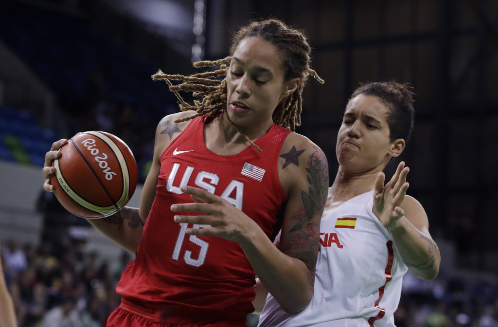 United States center Brittney Griner (15) and Spain forward Laura Nicholls battle under the net during the first half of a women's basketball game at the 2016 Summer Olympics in Rio de Janeiro on Monday. (AP Photo/Carlos Osorio)